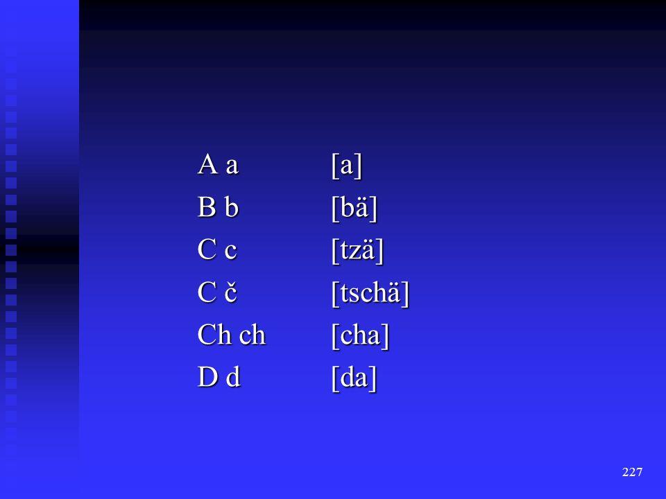 A a [a] B b [bä] C c [tzä] C č [tschä] Ch ch [cha] D d [da]